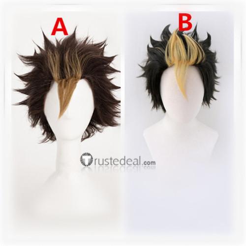 Haikyuu Yuu Nishinoya Black Brown Yellow Cosplay Wigs
