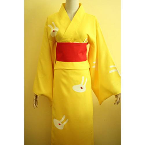 Gintama Kagura Fireworks Bunny Bathrobe Kimono Cosplay Costume
