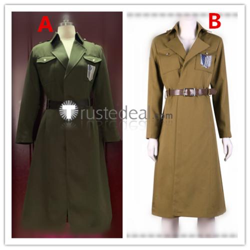 Attack on Titan Shingeki no Kyojin Scouting Legion Eren Jaeger Levi Mikasa Hanji Military Overcoat Cosplay Costumes