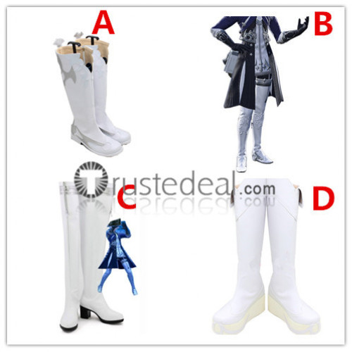 Final Fantasy XIV Alphinaud Leveilleur White Cosplay Shoes Boots