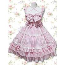Cotton Pink Bow Lace Ruffles Cotton Lolita Dress(CX148)