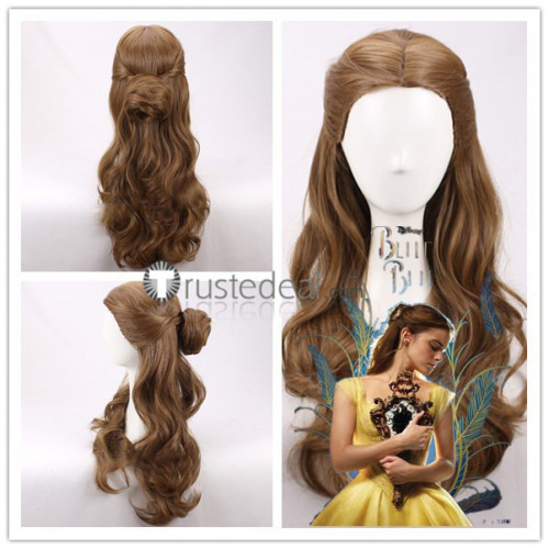 2017 Film Beauty and the Beast Disney Princess Belle Long Brown Curly Cosplay Wig