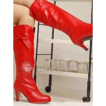 Top quality PU medium heel with bowknot side knee boots(D1075)