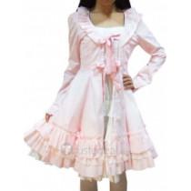 Cotton White Pink Long Sleeves Ruffle Lace Lolita Dress(CX431)