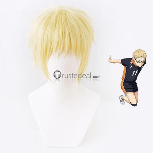 Haikyuu Kei Tsukishima Golden Blonde Cosplay Wig