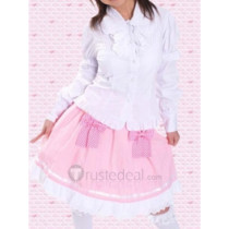Cotton White Long Sleeves Blouse And Pink Bow Cotton Lolita Skirt(CX182)