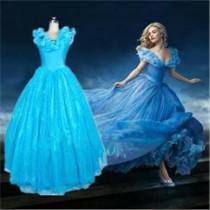 Disney 2015 Film Princess Cinderella Blue Dress Cosplay Costume