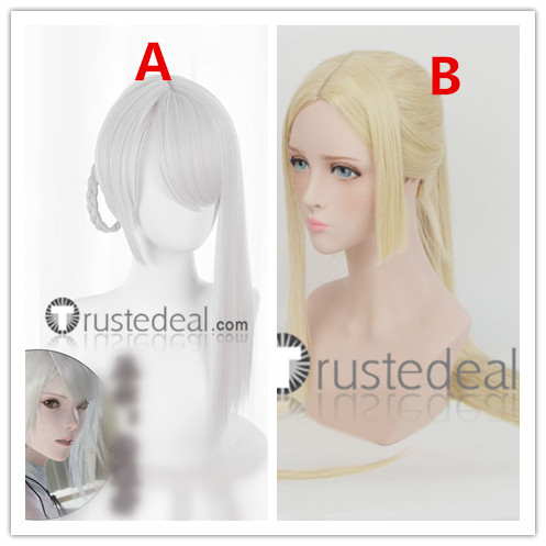 Nier Automata YoRHa Commander Nier Replicant Kaine Long Blonde Ponytail Silver White Cosplay Wigs