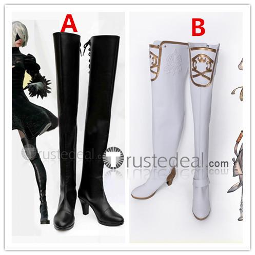 Nier Automata 2B YoRHa Commander White Black Cosplay Boots Shoes