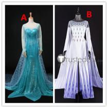 Frozen Disney Princess Elsa Blue and White Dress Cosplay Costumes