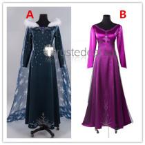 Frozen Disney Queen Elsa Snow Fur Dress and Purple Pajamas Dress Cosplay Costumes