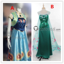 Frozen Fever Disney Princess Anna and Elsa Green and Blue Cosplay Costume