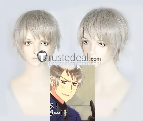 Hetalia Axis Powers Prussia Gilbert Beilschmidt Silver Grey Cosplay Wig