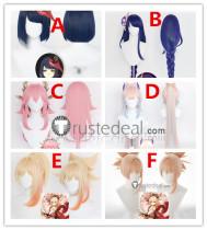 Genshin Impact Yoimiya kokomi Yae Miko Raiden Shogun Sara Pink Purple Blue Cosplay Wigs