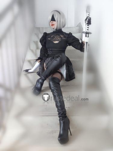 Nier Automata 2B Black Gothic Lolita Cosplay Costume1
