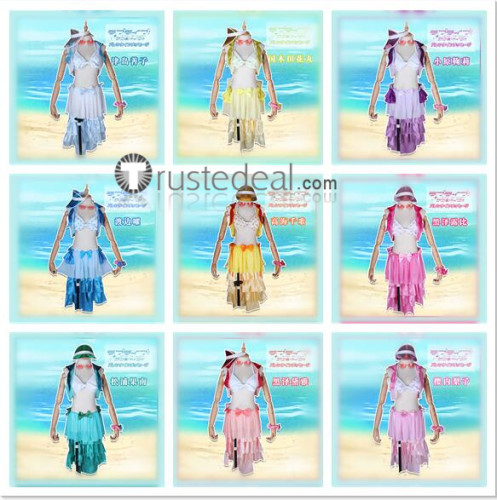 Love Live Sunshine Aqours Chika Dia Riko Kanan Ruby Yoshiko You Mari Summer Bikini Swimsuit Cosplay Costumes
