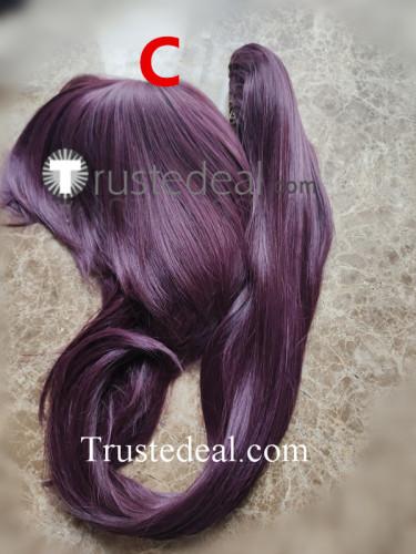 Bleach Shihouin Yoruichi Long Purple Ponytail Cosplay Wigs