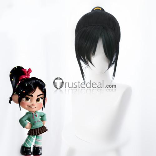Wreck It Ralph Princess Vanellope Black Ponytail Cosplay Wig