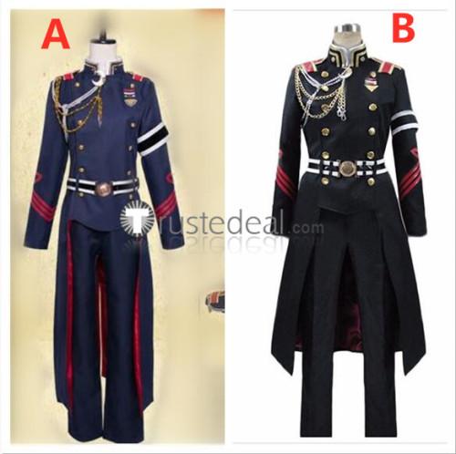 Seraph of the End Owari no Serafu Kureto Hiragi Military Uniform Black Blue Cosplay Costumes