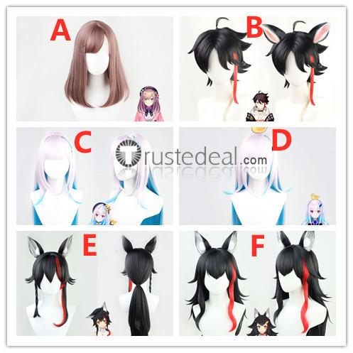 Vtuber Virtual YouTuber Ookami Mio Lize Helesta Saegusa Akina Suzuhara Lulu Black Silver Red Cosplay Wigs