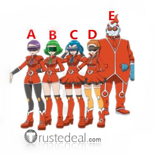 Pokemon XY Team Flare Scientists Bryony Aliana Celosia Mable Xeros Red Orange Cosplay Costumes