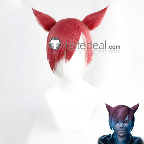 Final Fantasy XIV Miqo'te Y'shtola Rhul G'raha Tia Silver Red Cosplay Wigs Ears