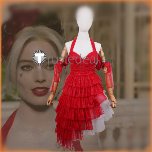 Suicide Squad 2021 Movie Harley Quinn Red White Dress Cosplay Costume