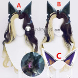 League of Legends LOL Ahri Coven Blonde Cosplay Wigs Ears