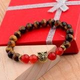 Sliver Color Owl Beads Beaded Bracelets 8mm Natural Lava Stone Energy Yoga Bracelets&Bangles Fashion Jewelry