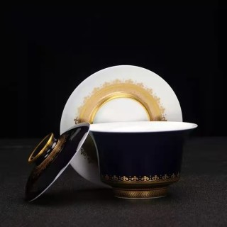 Jingdezhen Ceramic Jilan hand painted gold painted tea bowl full of handmade Kung Fu Tea Set