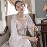 Handmade silk Spring and Autumn vintage palace sexy nightdress with long sleeves silk bow dress and Pyjamas women пижама женская