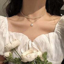 Fashion Kpop Pearl Choker Necklace Cute Double Layer Chain Pendant For Women Jewelry Girl Gift