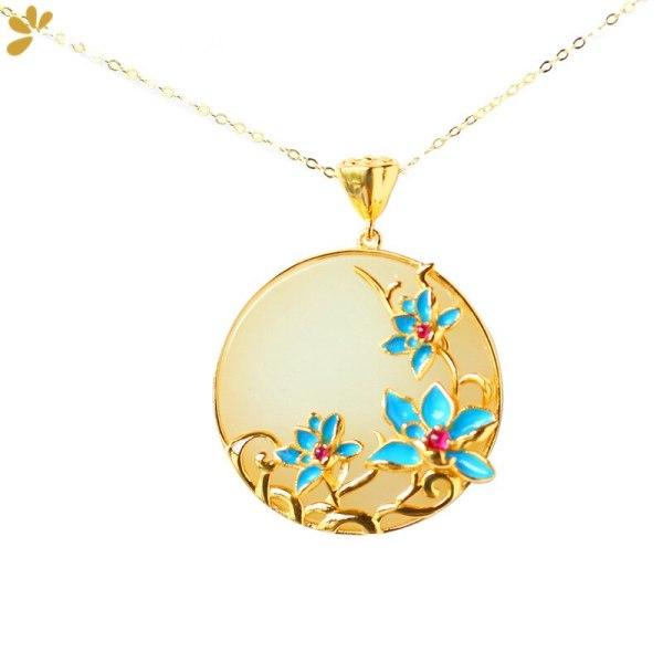Pendant Fine Jewel Tourmaline Cloisonne Lotus Flower Necklace Pendants Without Chain