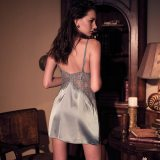 Handmade silk Sexy Women's Sleepwear Perspective Lace Nightdress Thin  Homewear Nightwear Silk Sleeveless Nightgown Night Dress