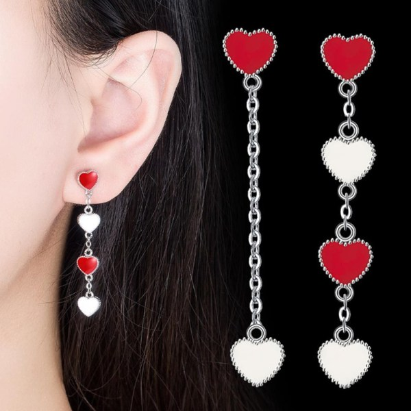 New Women's Fashion Jewelry High Quality Pearl Exaggerated Long Tassel Simple Rear Hanging Earrings,red