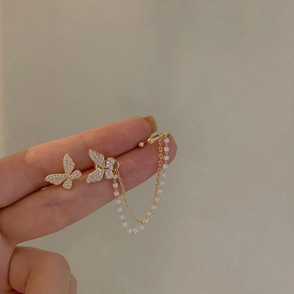 Korean Elegant Cute Rhinestone Butterfly Stud Earrings For Women Girls Fashion Metal Chain Boucle