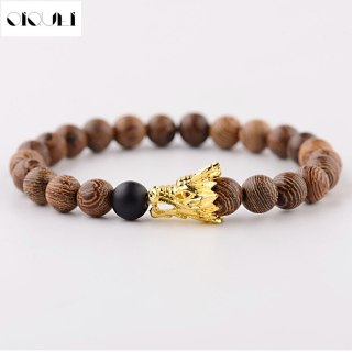 Newest Wooden Beads Strand Bracelet Men Handmade Buddha Wood Gold Color Alloy Dragon Head Beaded Bracelets Jewelry