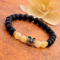 Sliver Color Owl Beads Beaded Bracelets 8mm Natural Lava Stone Energy Yoga Bracelets&Bangles Fashion Jewelry
