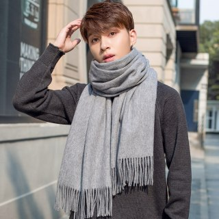 Lamb Wool Scarf Men Neck Warmer Thicken Gray Pashmina Wraps Foulard for Man's Cashmere Echarpe Pure Wool Scarves