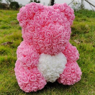 40cm Teddy Bear Rose with Heart Red Flower Artificial Decoration Gifts for Women Valentines Mother Day