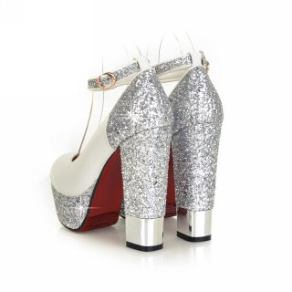 New Top Quality Large Size 32-42 Bling Upper Pumps Shoes Women High Heels Sexy Party Wedding Bride Shoes Woman