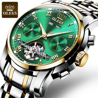 OLEVS Mechanical Men Watches Automatic Stainless Steel Waterproof Date Week Green Fashion Classic Wrist Watches 6607