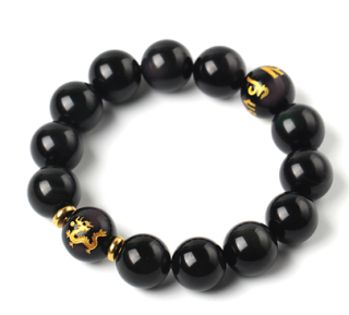 Natural Obsidian Bracelet for Men's Lucky Transit Red Agate Bead Bracelet