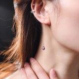 14K Gold Injection Amethyst Long Earrings For Girlfriend Gift