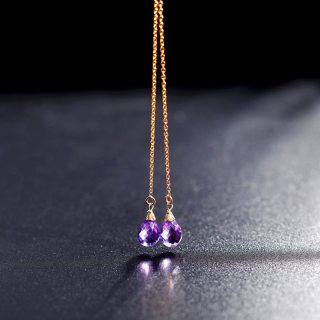 14K Gold Injection Amethyst Long Earrings For Girlfriend Gift