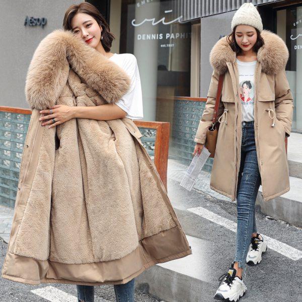 2021 New Cotton Liner Parker Parka Fashion Adjustable Waist Fur Collar Winter Jacket Women Medium Long Hooded Parka Coat