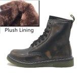 DONGNANFENG Women's Female Men Autumn Genuine Leather Ankle Shoes Boots Platform Lace Up Autumn Winter Fur Plush Plus Size 43 44