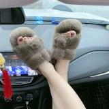 100% mink fur slippers women  shoes slides Real mink fur slippers cute women's slippers
