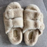 100% mink fur slippers women  shoes slides Real mink fur slippers cute women's slippers