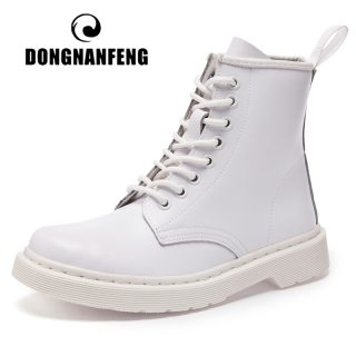 DONGNANFENG Women's Female Men Autumn Genuine Leather Ankle Shoes Boots Platform Lace Up Autumn Winter Fur Plush Plus Size 43 44